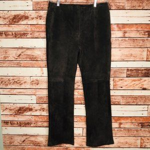 APOSTROPHE Brown Suede Leather Pants Size 12